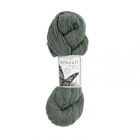 Silkeull 65% merino 35%silke 100g, Sølvgran