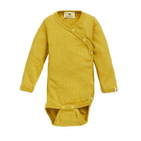 Omslagsbody i ull med silke, hullmønster - Sennep