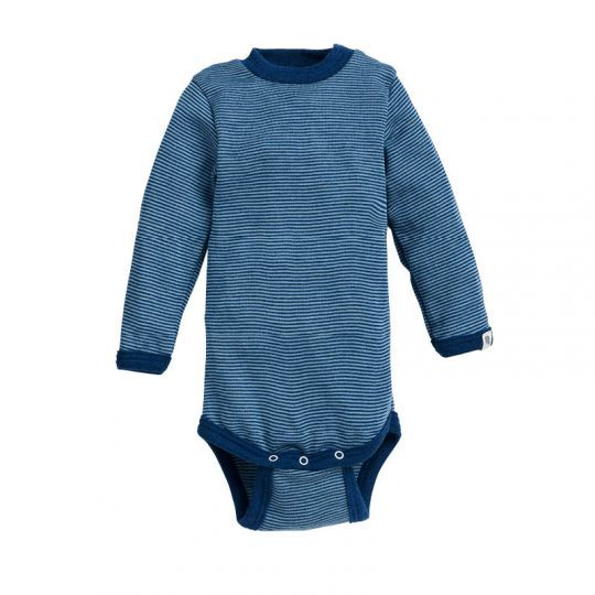Body i ull med silke - Marine/antikkblå