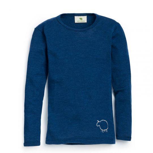 Barnetrøye i ull med silke - Marineblå