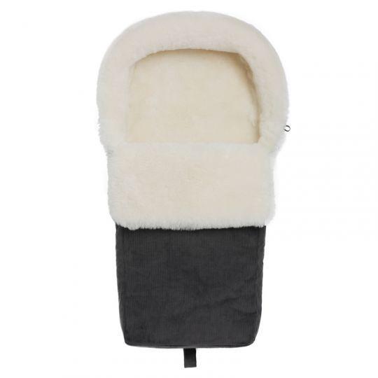 Vognpose i skinn med cordfløyelstrekk - Grå