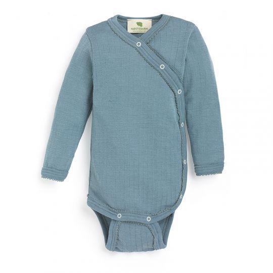 Omslagsbody i ull med silke, hullmønster - Antikkblå