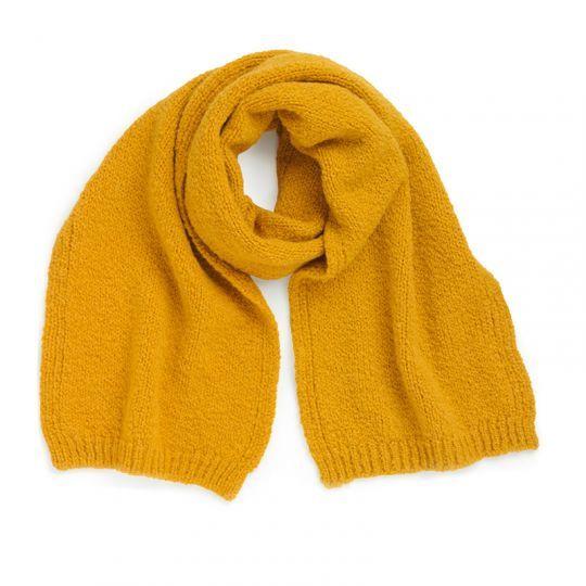 Løst strikket skjerf, ull og alpakka - Sennep