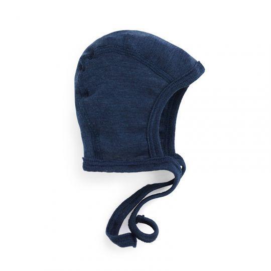 Lue i ull med silke - Marineblå