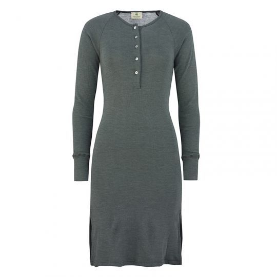 Nattkjole i ull med silke m/knapper - Sølvgran