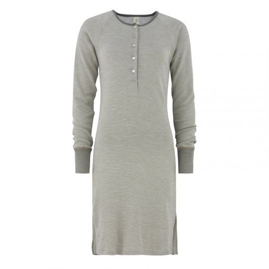 Nattkjole i ull med silke m/knapper - Varmgrå/natur