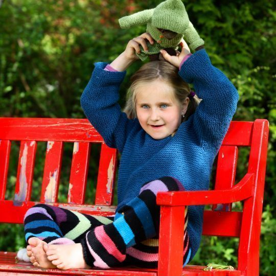 >Oppskrift- Rillestrikket genser Barn