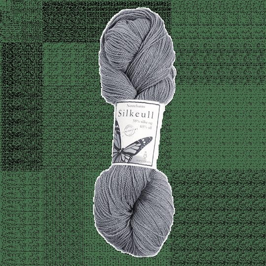Silkeull 65% merino 35%silke 100g, Sølvgrå
