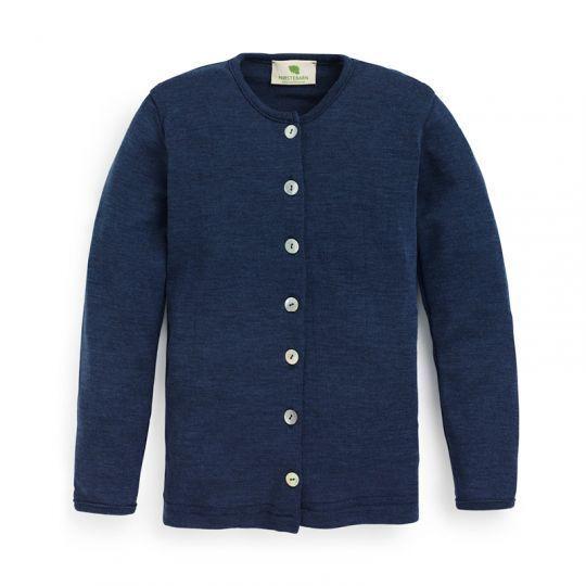 Cardigan i ull med silke - Marineblå