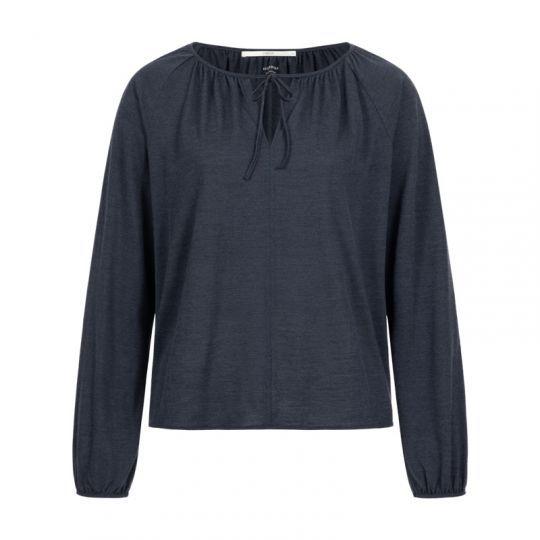 Tynn genser i ull og silke - Midnattsblå