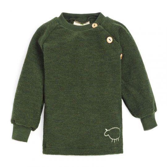 Babygenser i ullfrotté - Skoggrønn