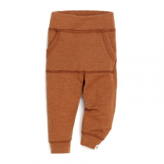 Babybukse i ull med lomme - Karamell