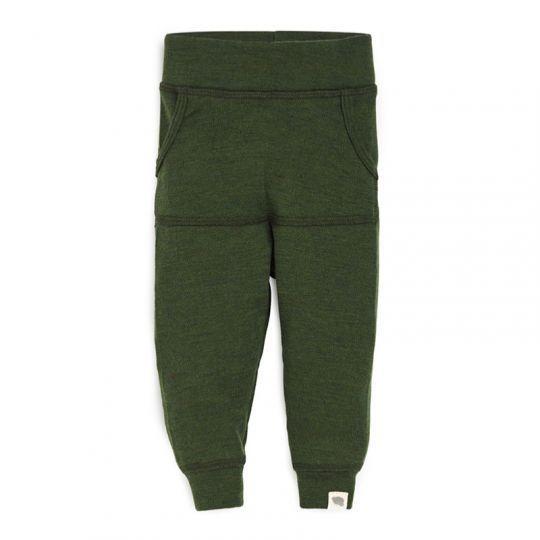 Babybukse i ull med lomme - Skoggrønn
