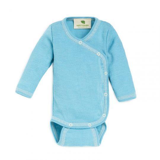 Prematurbody i ull med silke - Pastellblå