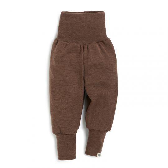 Babybukse i ull med silke - Nøttebrun