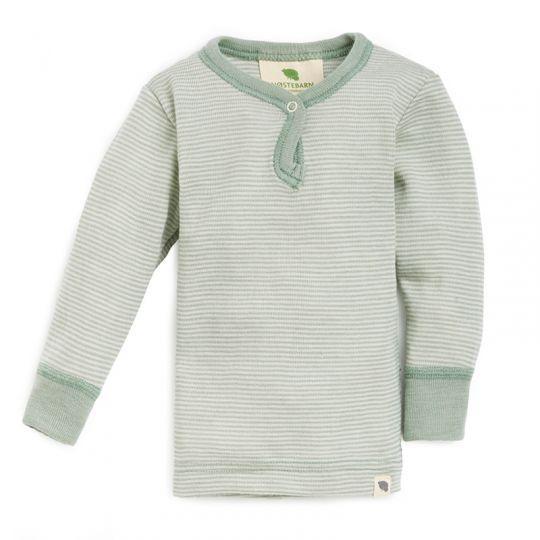 Babytrøye i ull med silke - Dus mint/natur