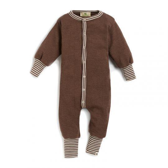Hel dress i ull med silke - Nøttebrun