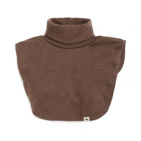 Hals i ull med silke Nøttebrun
