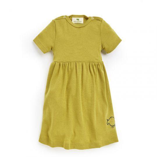 Babykjole i ull med silke - Sennep