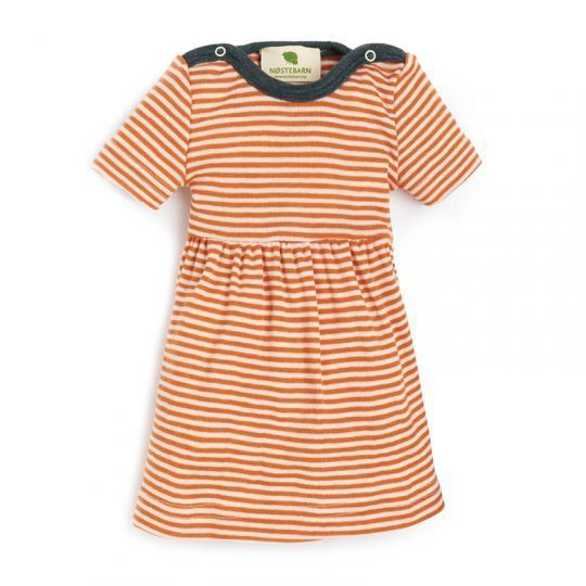 Babykjole i ull med silke - Mandarin/natur
