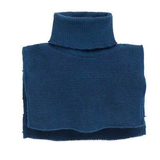 Hals one-size i ribbestrikket ull  Marineblå