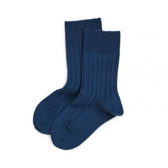 Tynne ullsokker i ribb-kvalitet for barn - Marineblå