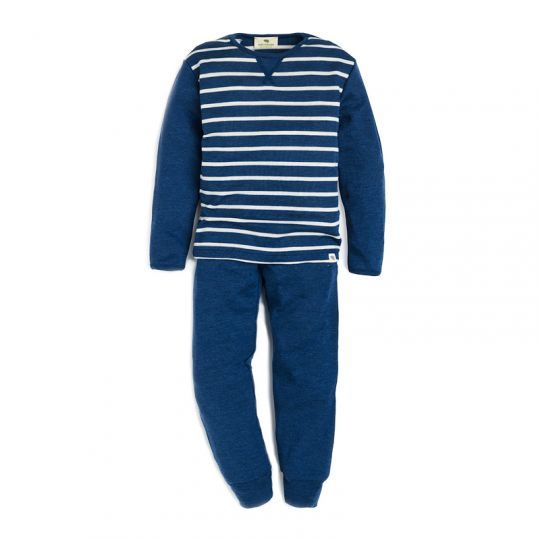Todelt pysjamas i ull med silke - Marineblå/natur