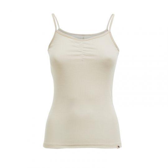 Singlet m/stropper i ull med silke - Natur