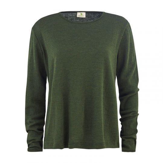 Løs genser i ull - Skoggrønn