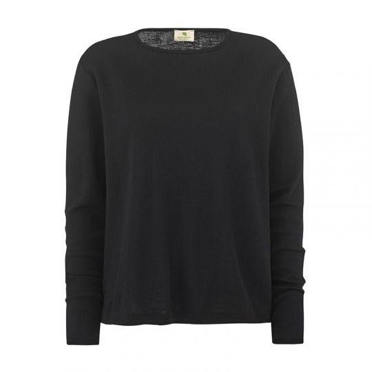 Løs genser i ull - Svart