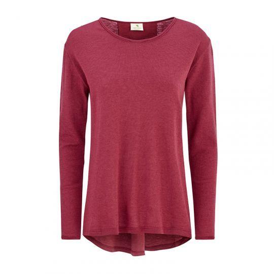 Løs V-genser i ull, dame - Rouge