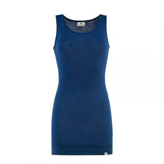 Lang singlet i ull med silke - Marineblå
