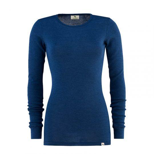 Dametrøye i ull med silke lang - Marineblå