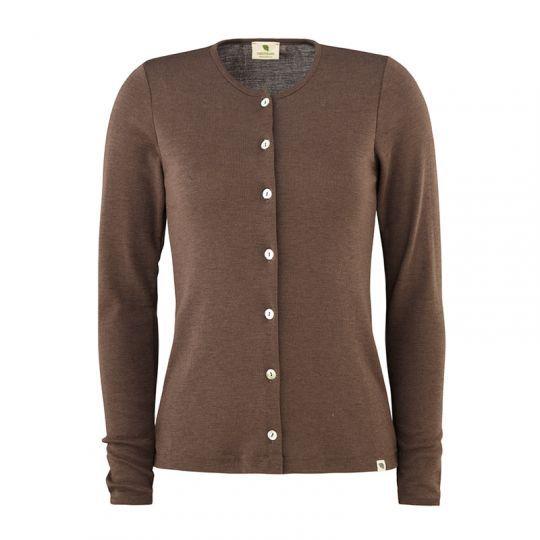 Cardigan i ull med silke - Nøttebrun
