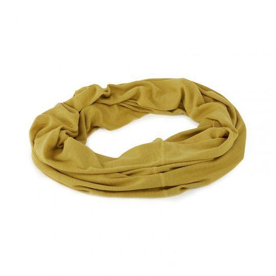 Rundsjal i ull med silke Sennep