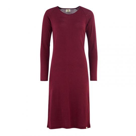 Nattkjole i ull med silke, litt a-fasong - Vinrød