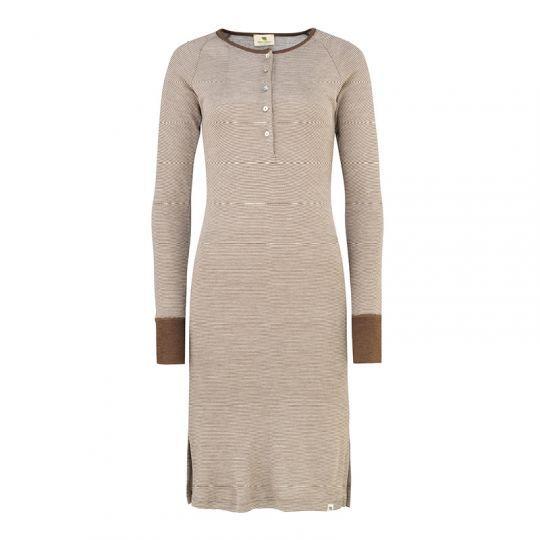 Nattkjole i ull med silke m/knapper - Nøttebrun/natur