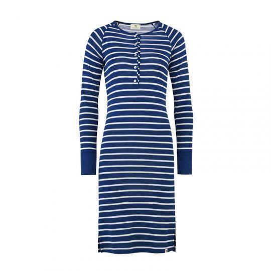 Nattkjole i ull med silke m/knapper - Marineblå/Natur