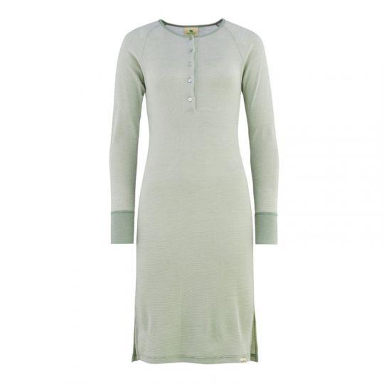 Nattkjole i ull med silke m/knapper - Dus mint/natur
