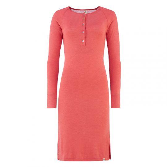 Nattkjole i ull med silke m/knapper - Vannmelon