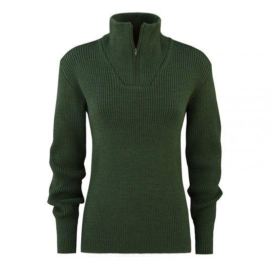 Ribbestrikket zip-genser i ull - Skoggrønn