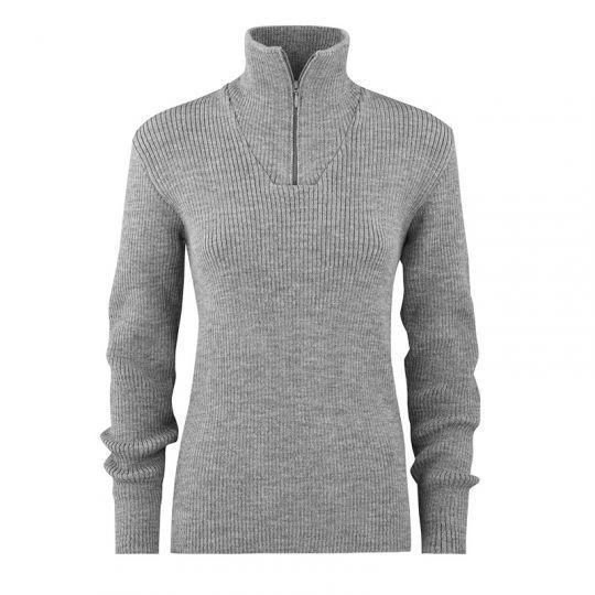 Ribbestrikket zip-genser i ull - Mørk grå