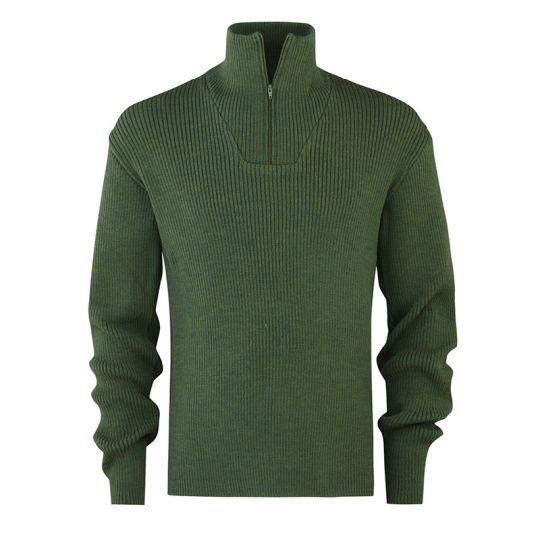 Ribbestrikket zip-genser i ull til herre - Skoggrønn