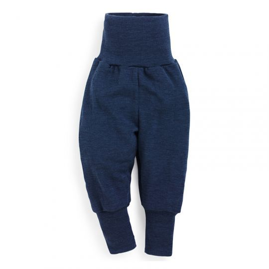 Babybukse i ull med silke - Marineblå