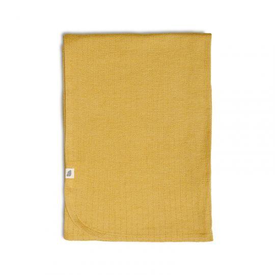 Babyteppe i ull med silke Sennep