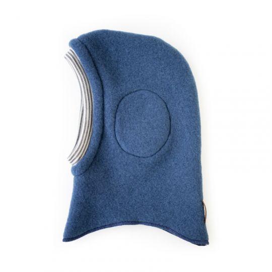 Hettelue i ullfleece m vindbeskytter - Marineblå