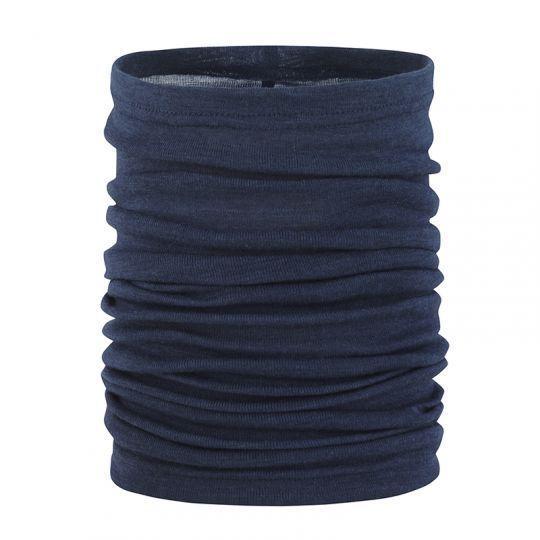 Tubehals i ull med silke - Marineblå