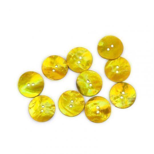 Perlemorknapp gul