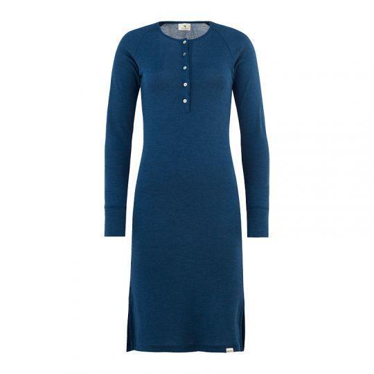 Nattkjole i ull med silke m/knapper - Marineblå