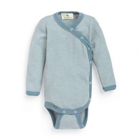 Omslagsbody i ull med silke - Antikkblå/natur
